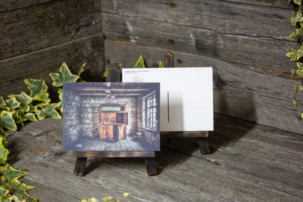 Lost Place Postkarte wooden fridge